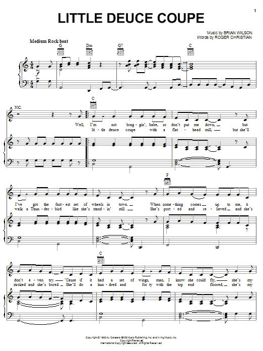 The Beach Boys Little Deuce Coupe sheet music preview music notes and score for Easy Guitar including 2 page(s)