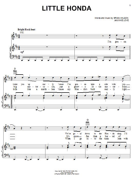 The Beach Boys Little Honda sheet music notes and chords