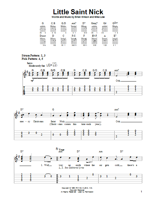 The Beach Boys Little Saint Nick sheet music notes and chords