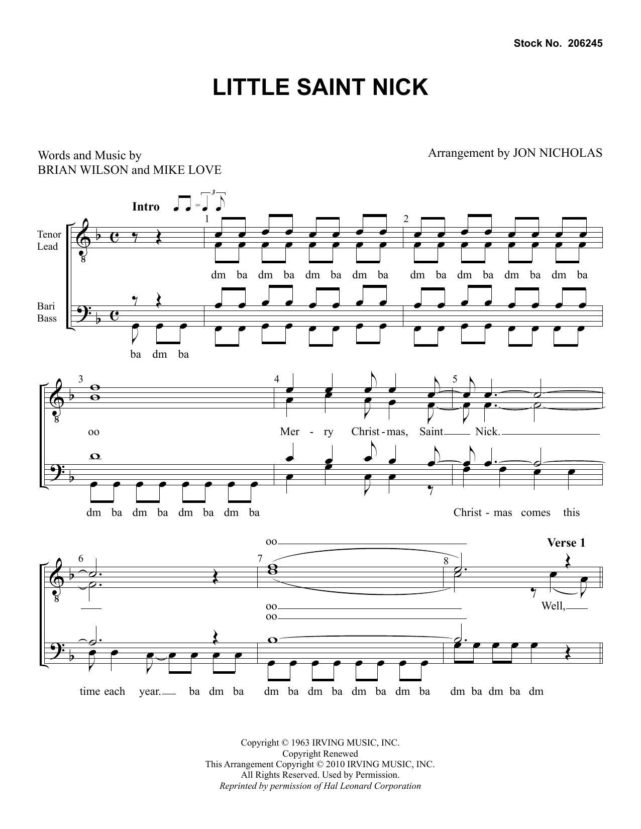 The Beach Boys Little Saint Nick (arr. Jon Nicholas) sheet music preview music notes and score for SSAA Choir including 7 page(s)