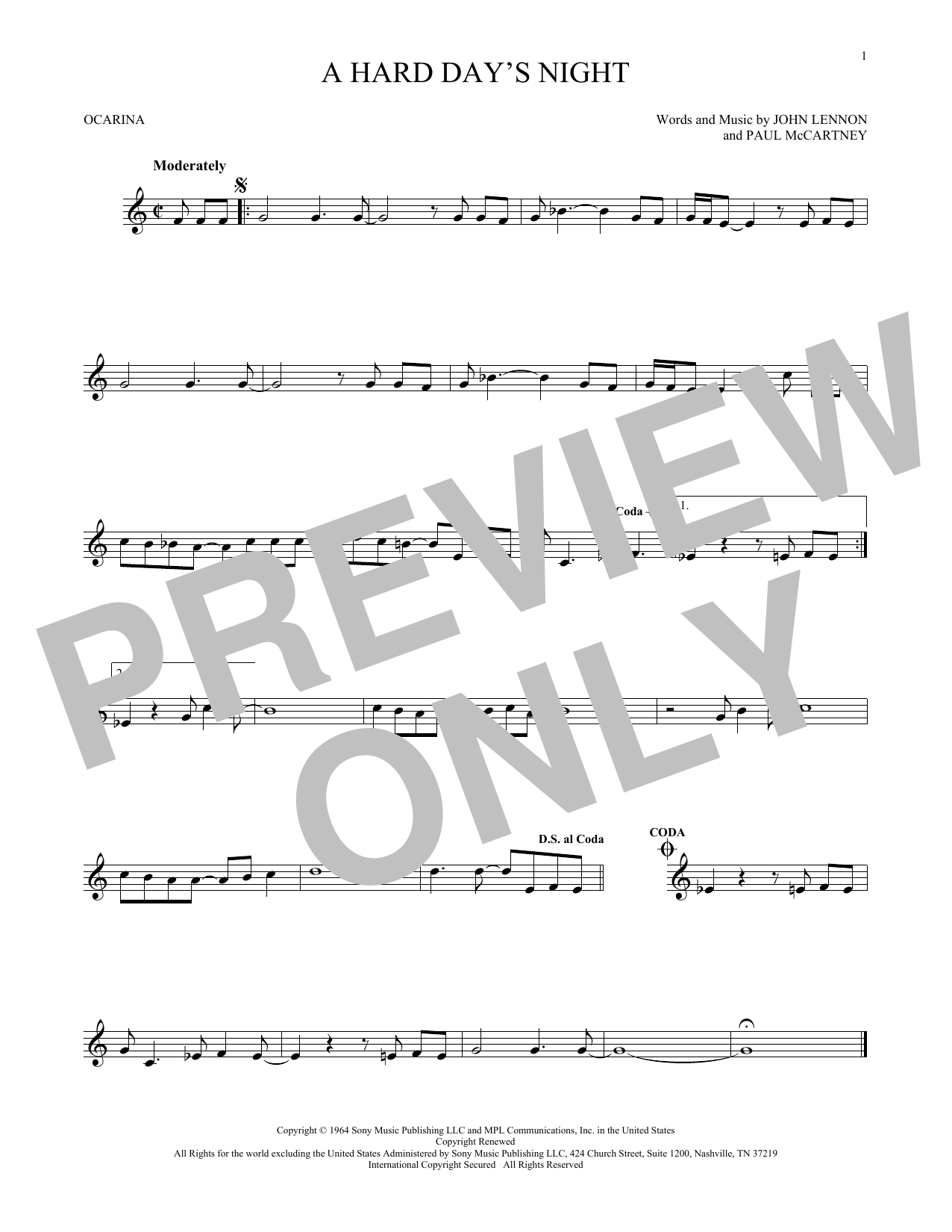 The Beatles A Hard Day's Night sheet music preview music notes and score for Guitar Tab including 3 page(s)