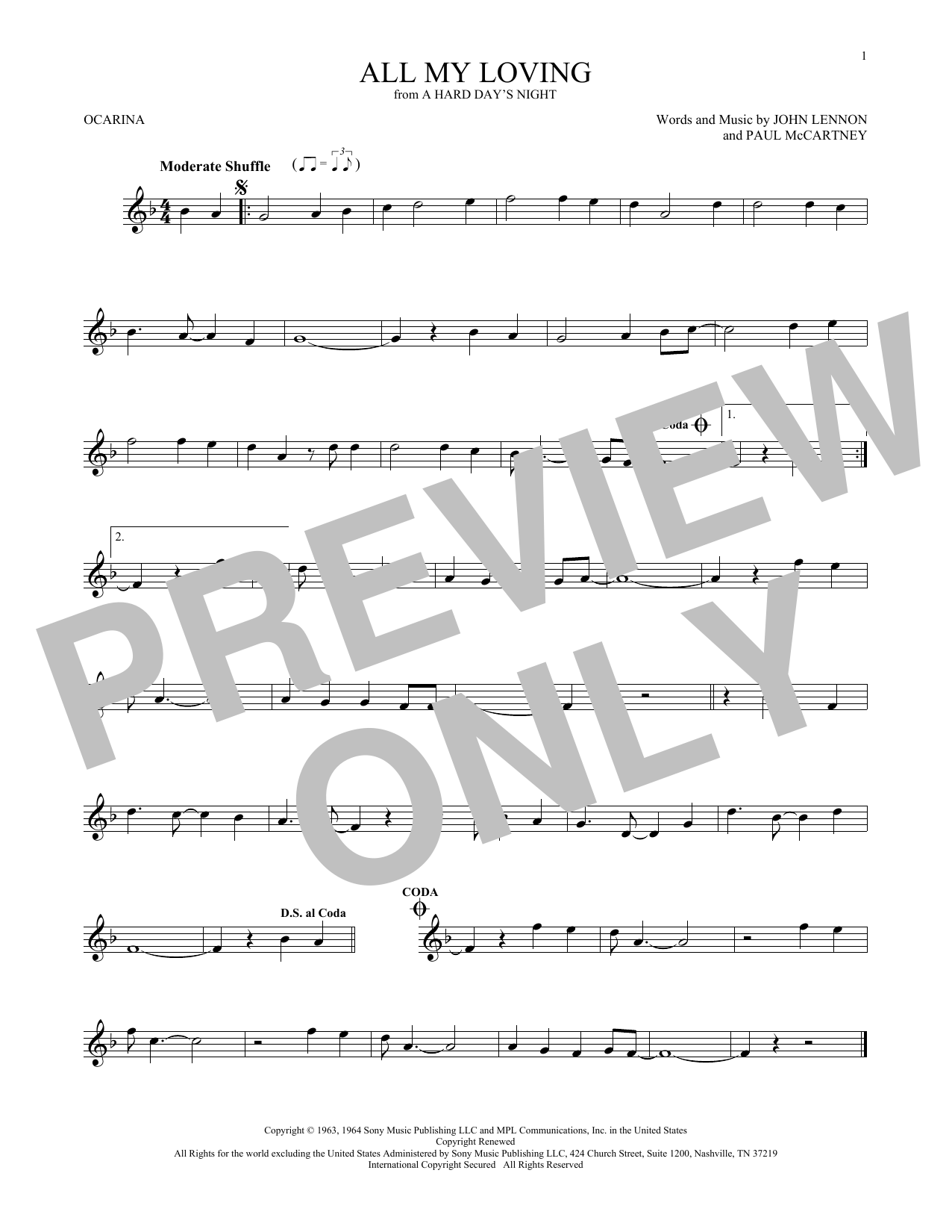 The Beatles All My Loving sheet music preview music notes and score for Piano, Vocal & Guitar (Right-Hand Melody) including 4 page(s)