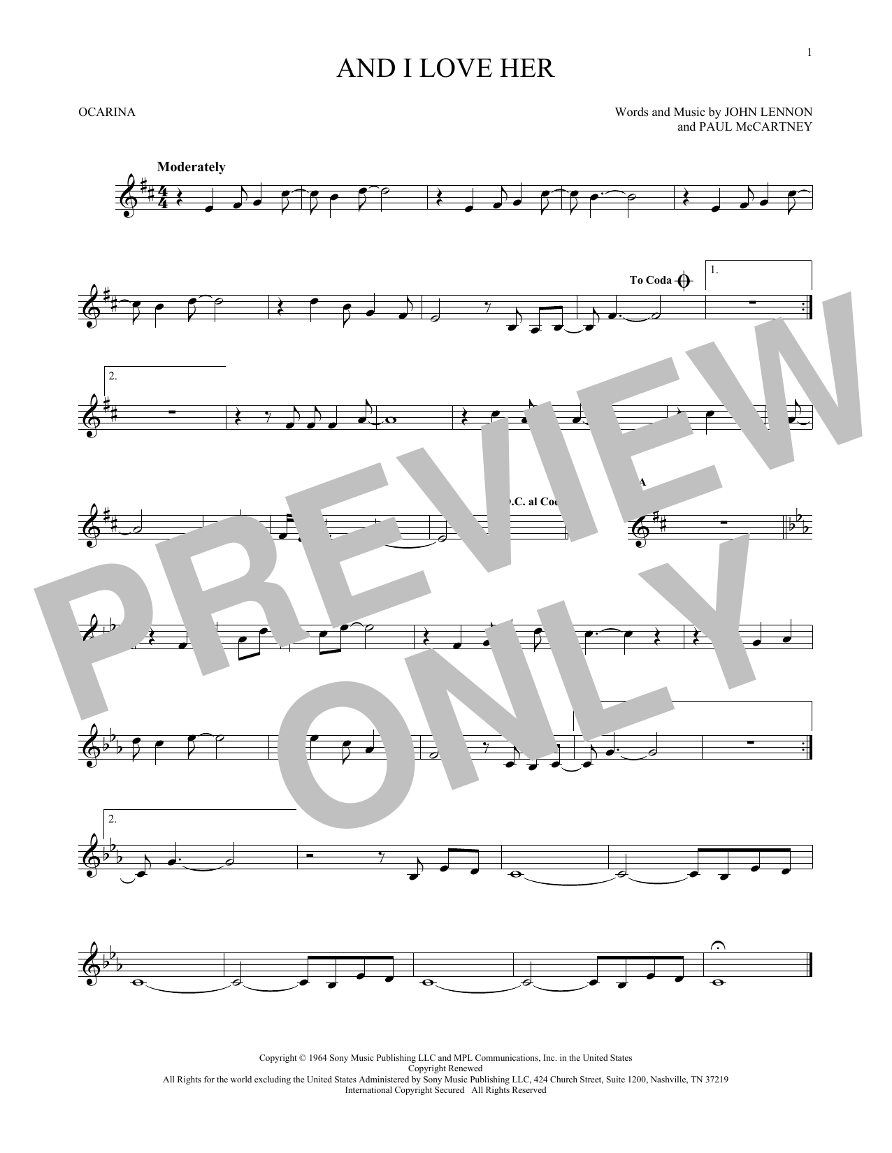 The Beatles And I Love Her sheet music preview music notes and score for Piano, Vocal & Guitar (Right-Hand Melody) including 4 page(s)