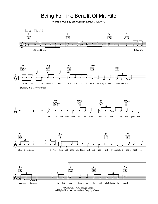 The Beatles Being For The Benefit Of Mr. Kite sheet music preview music notes and score for Guitar Tab including 7 page(s)