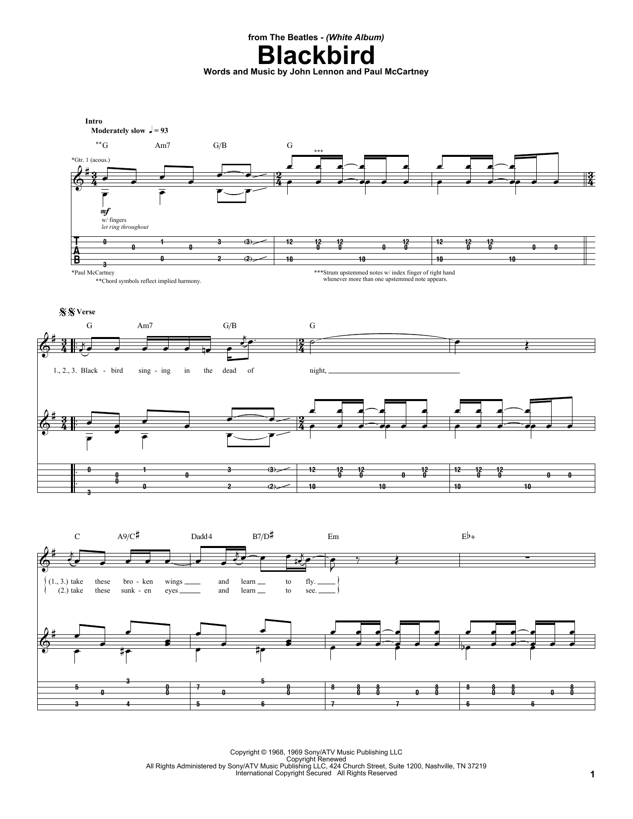 Download The Beatles 'Blackbird' Digital Sheet Music Notes & Chords and start playing in minutes