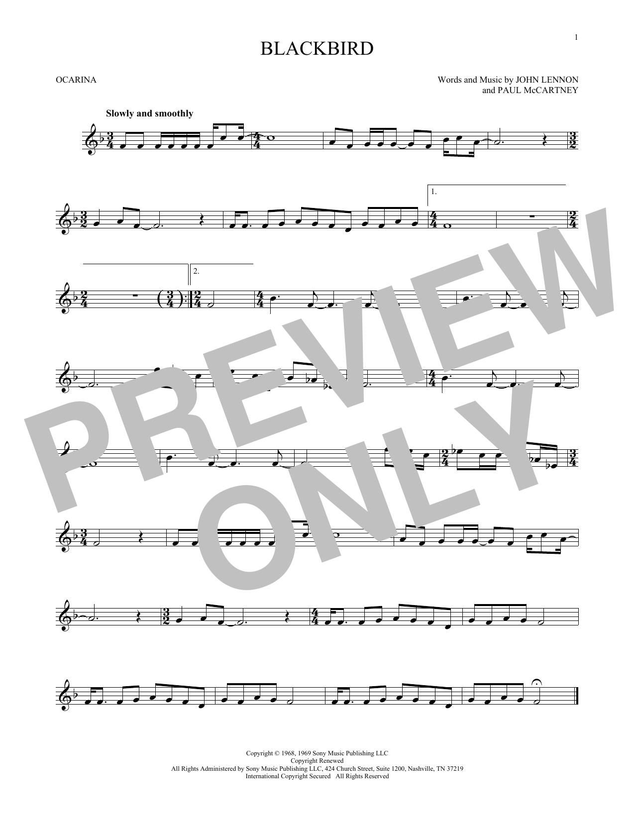 The Beatles Blackbird sheet music preview music notes and score for Guitar Tab including 5 page(s)