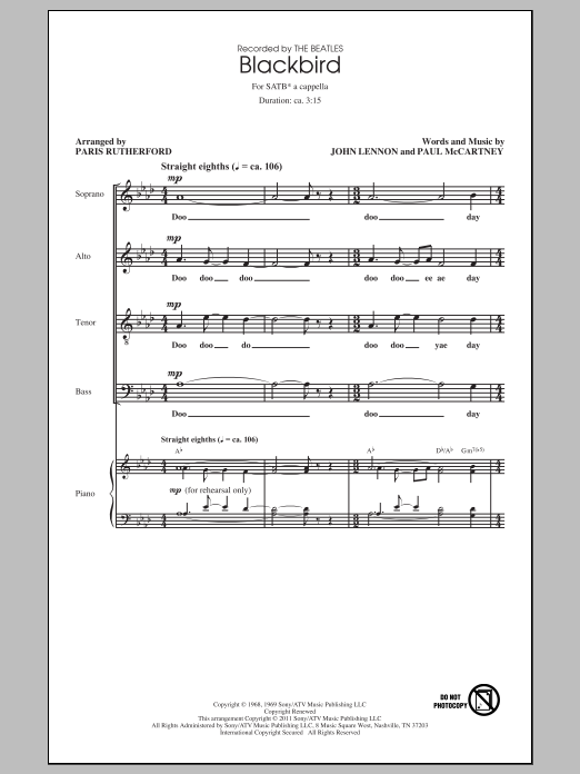 The Beatles Blackbird (arr. Paris Rutherford) sheet music preview music notes and score for SATB including 14 page(s)