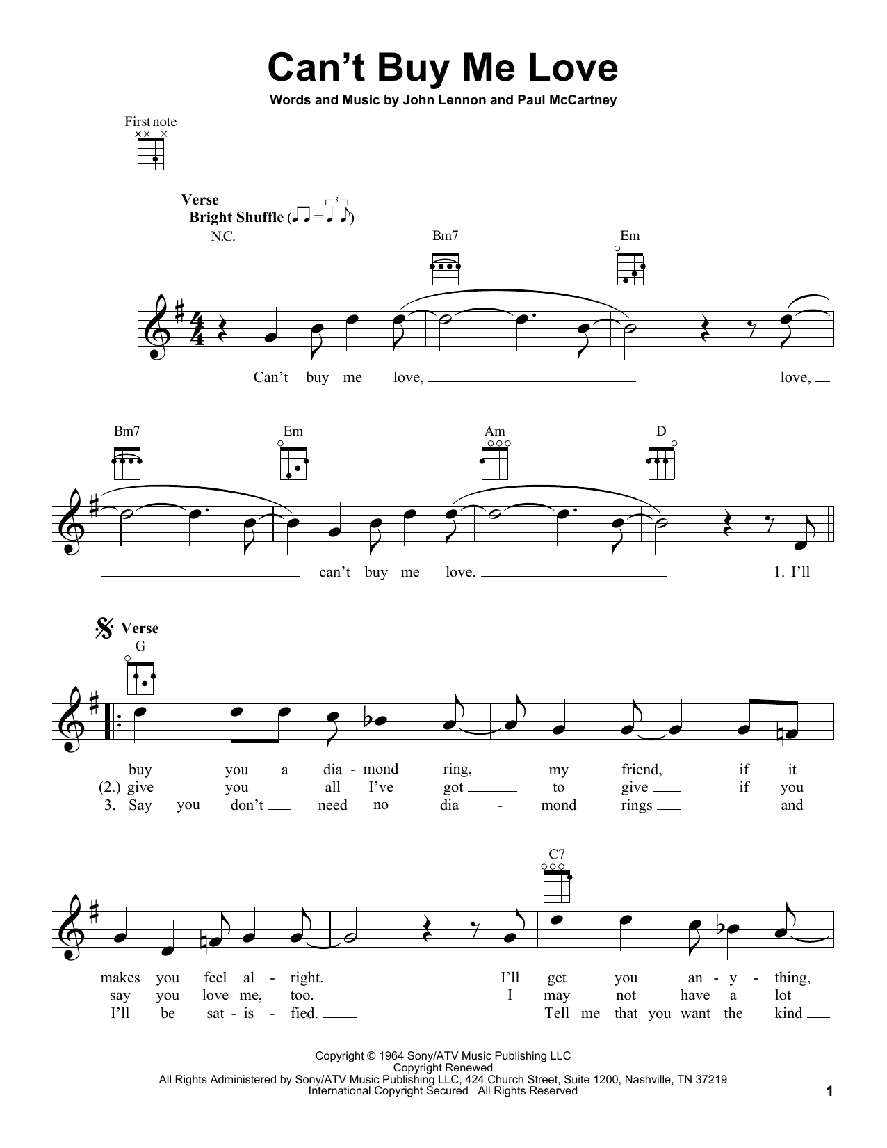 The Beatles Can't Buy Me Love sheet music notes and chords