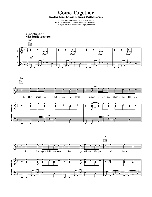The Beatles Come Together sheet music notes and chords