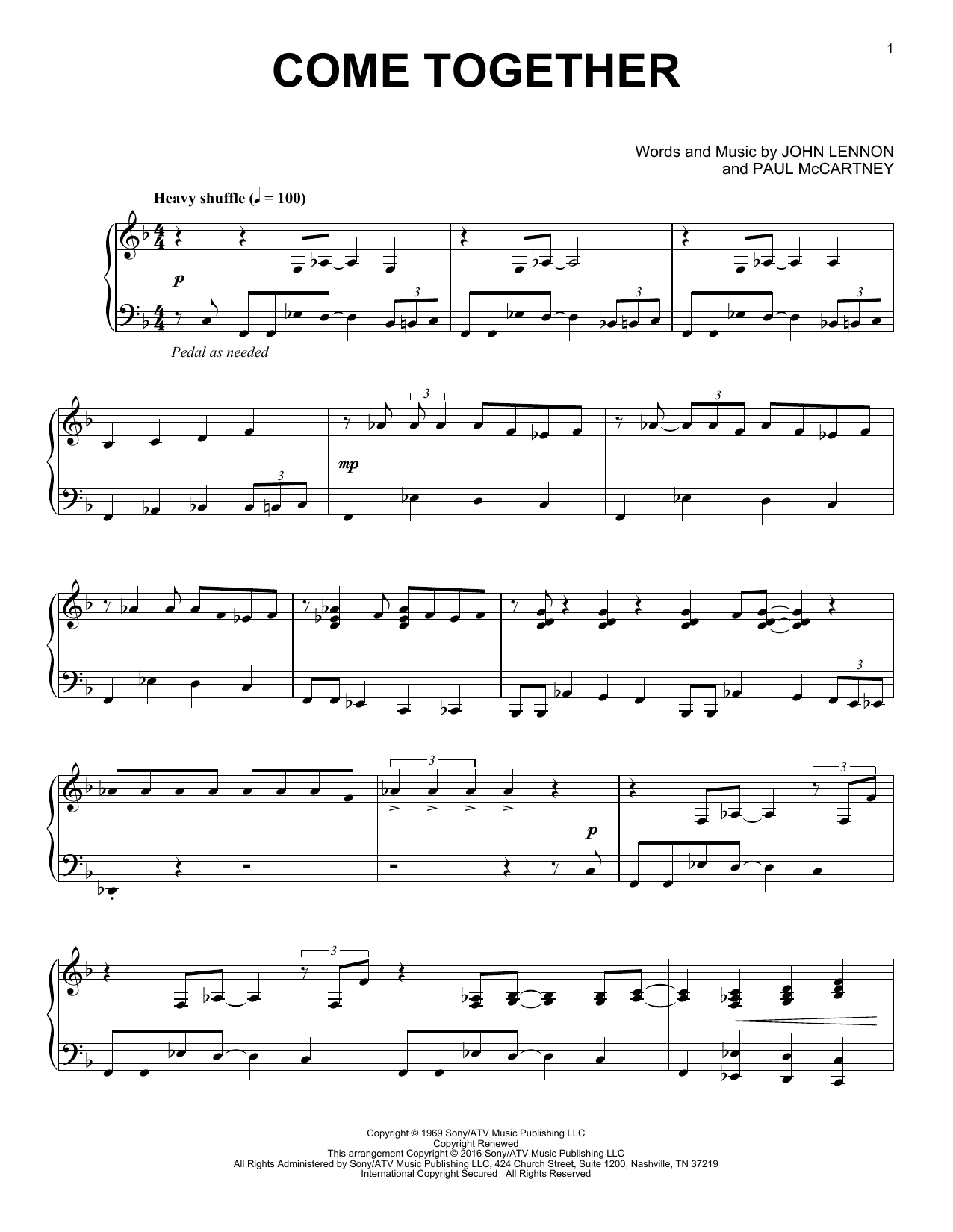 Download The Beatles 'Come Together' Digital Sheet Music Notes & Chords and start playing in minutes