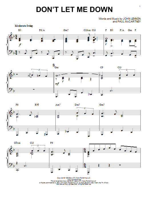 The Beatles Don't Let Me Down sheet music notes and chords