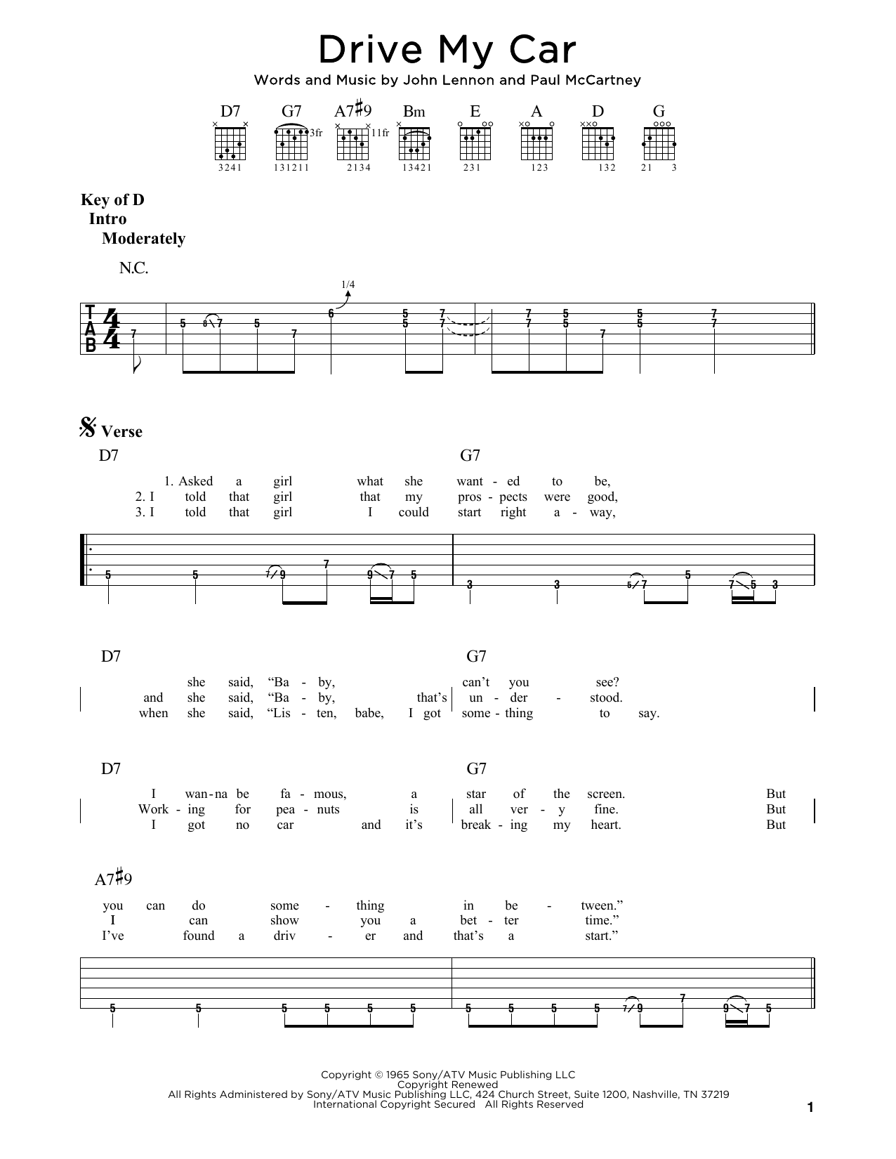 The Beatles Drive My Car sheet music preview music notes and score for Guitar Tab including 4 page(s)