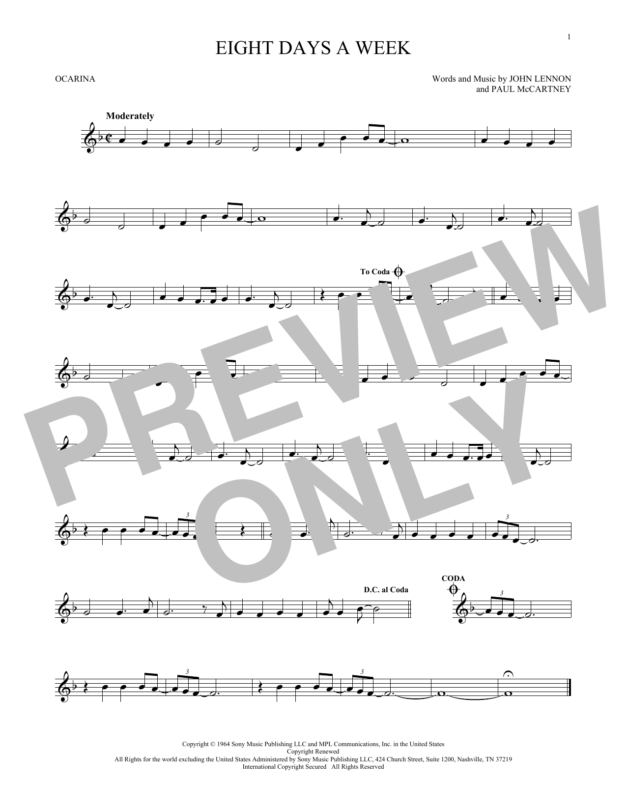 The Beatles Eight Days A Week sheet music preview music notes and score for Bass Guitar Tab including 3 page(s)