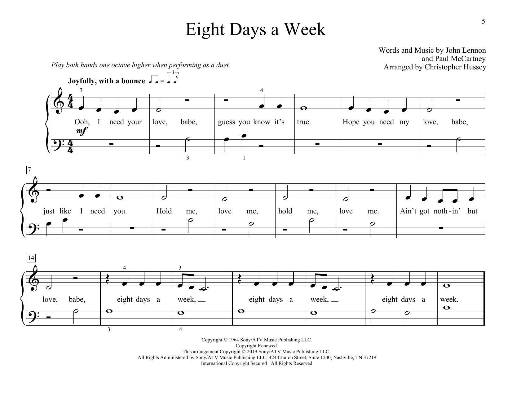 The Beatles Eight Days A Week (arr. Christopher Hussey) sheet music preview music notes and score for Piano Duet including 2 page(s)