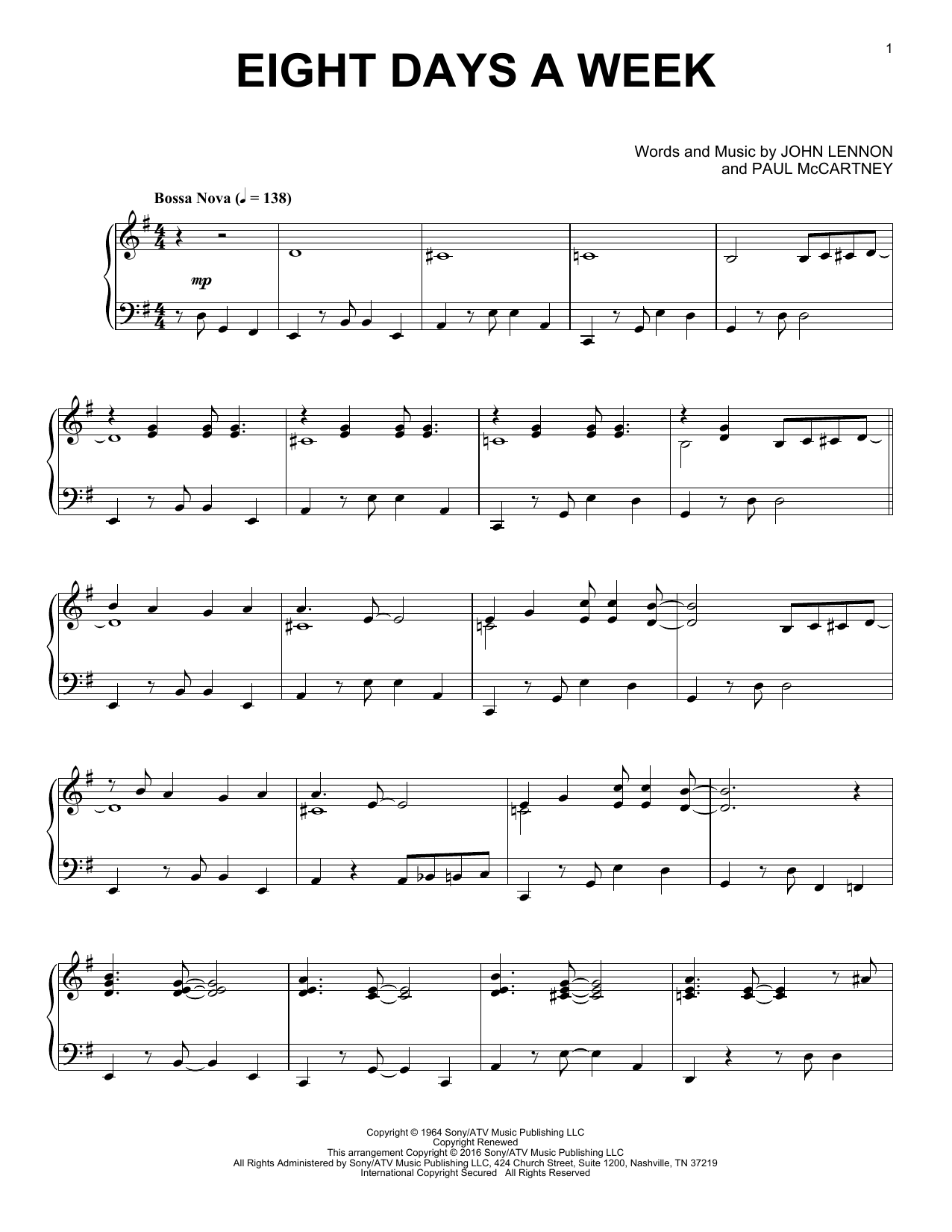 Download The Beatles 'Eight Days A Week' Digital Sheet Music Notes & Chords and start playing in minutes