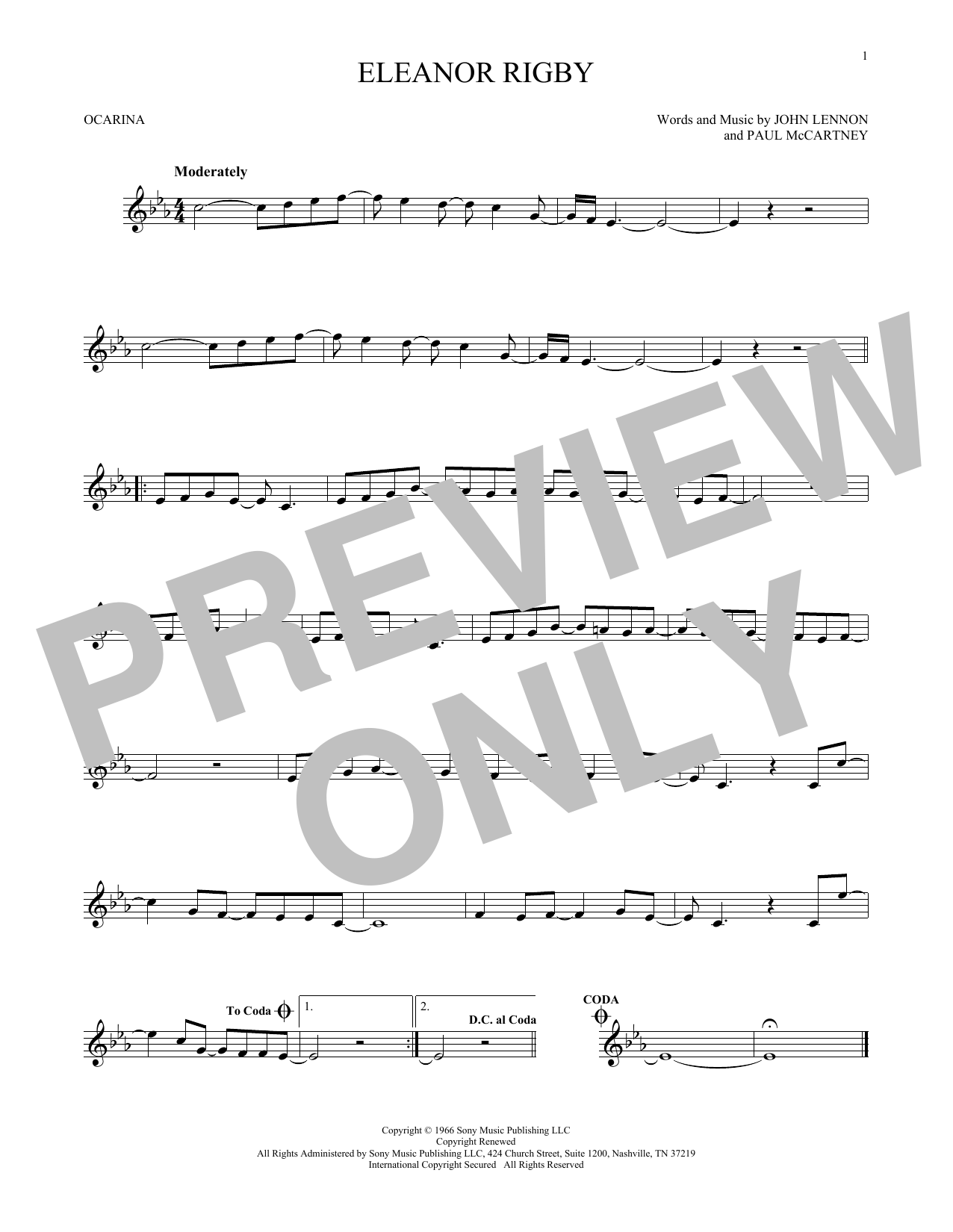 The Beatles Eleanor Rigby sheet music preview music notes and score for Ukulele including 2 page(s)
