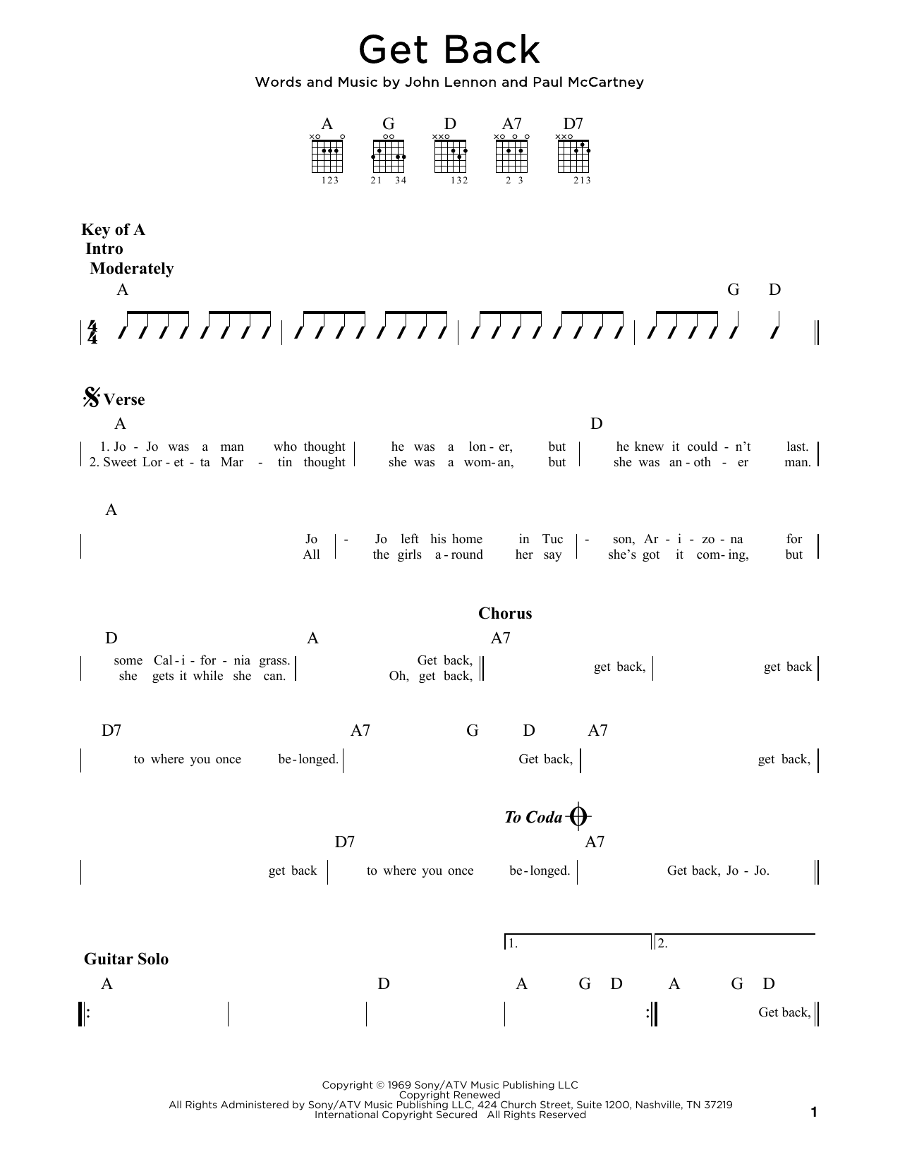 The Beatles Get Back sheet music preview music notes and score for Ukulele including 2 page(s)