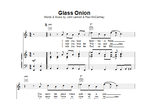 The Beatles Glass Onion sheet music preview music notes and score for Melody Line, Lyrics & Chords including 2 page(s)