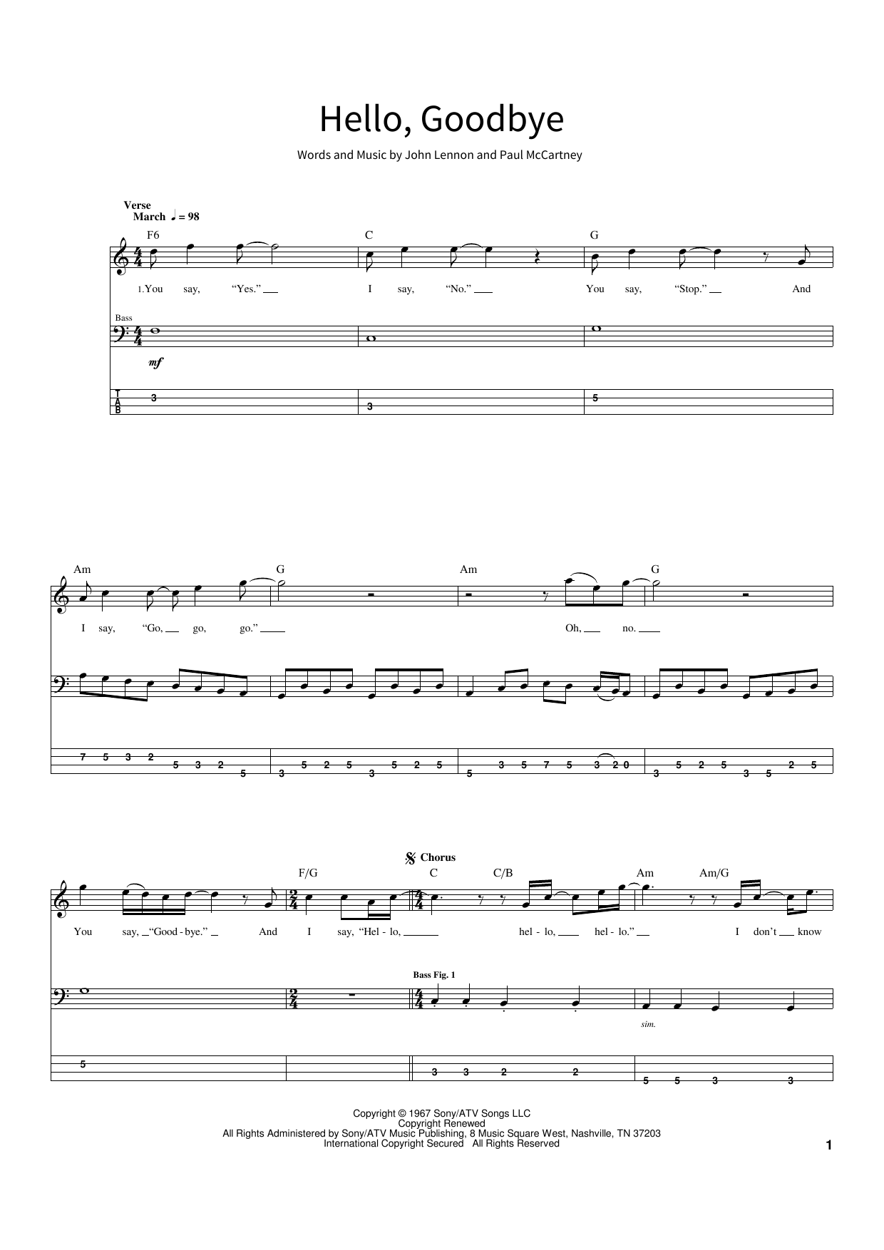 The Beatles Hello, Goodbye sheet music notes and chords