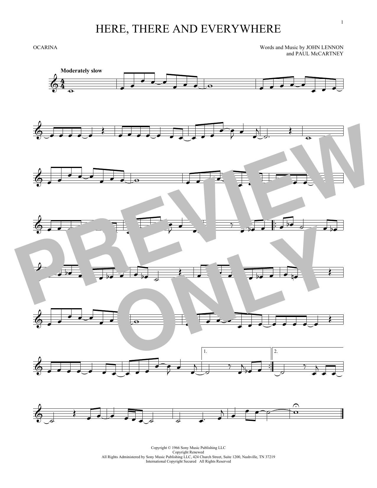 The Beatles Here, There And Everywhere sheet music preview music notes and score for Melody Line, Lyrics & Chords including 2 page(s)