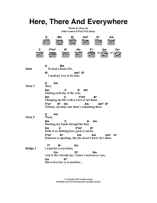 The Beatles Here, There And Everywhere sheet music preview music notes and score for Piano, Vocal & Guitar (Right-Hand Melody) including 4 page(s)