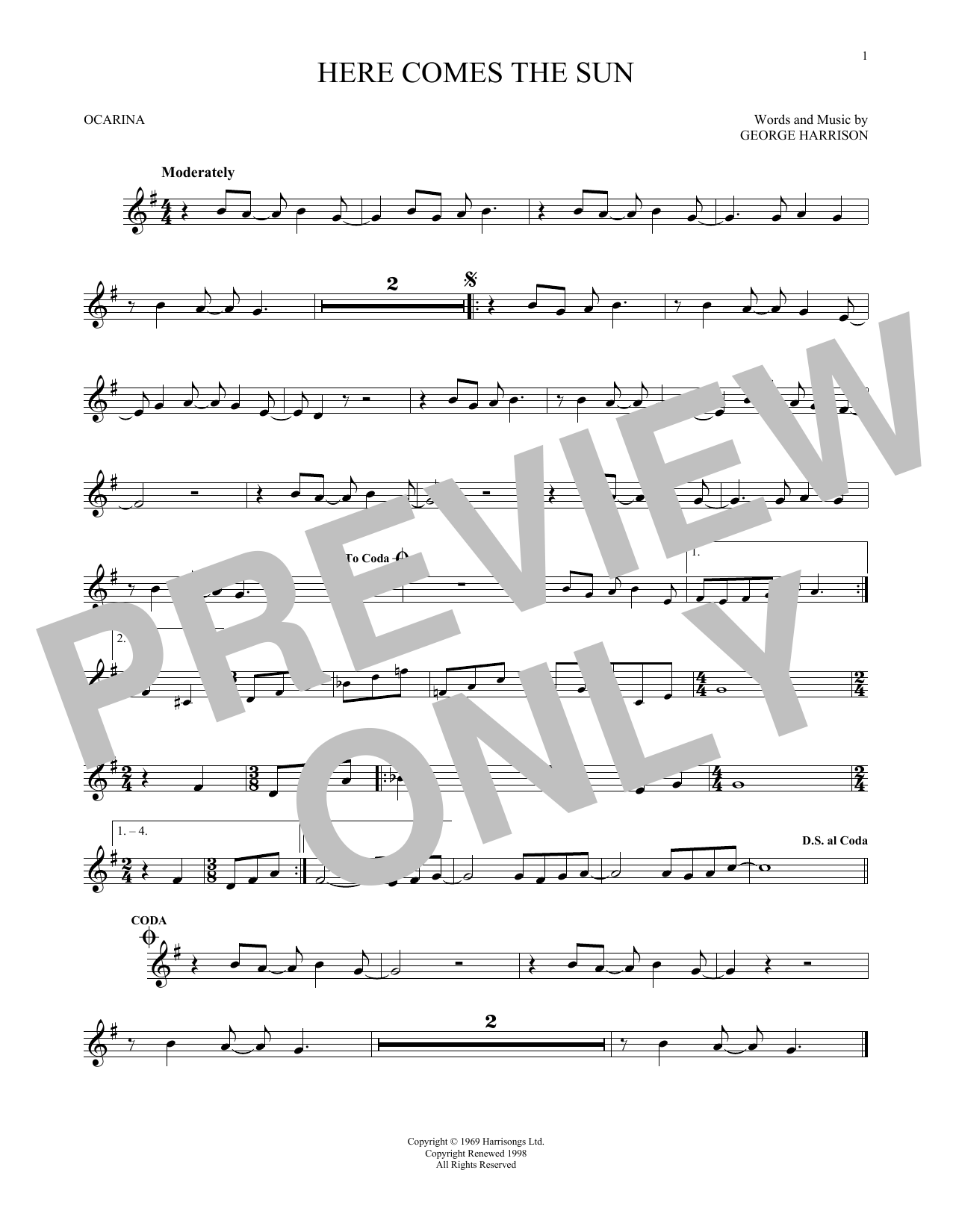 The Beatles Here Comes The Sun sheet music preview music notes and score for Melody Line, Lyrics & Chords including 3 page(s)