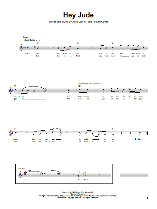 Download The Beatles 'Hey Jude' Digital Sheet Music Notes & Chords and start playing in minutes