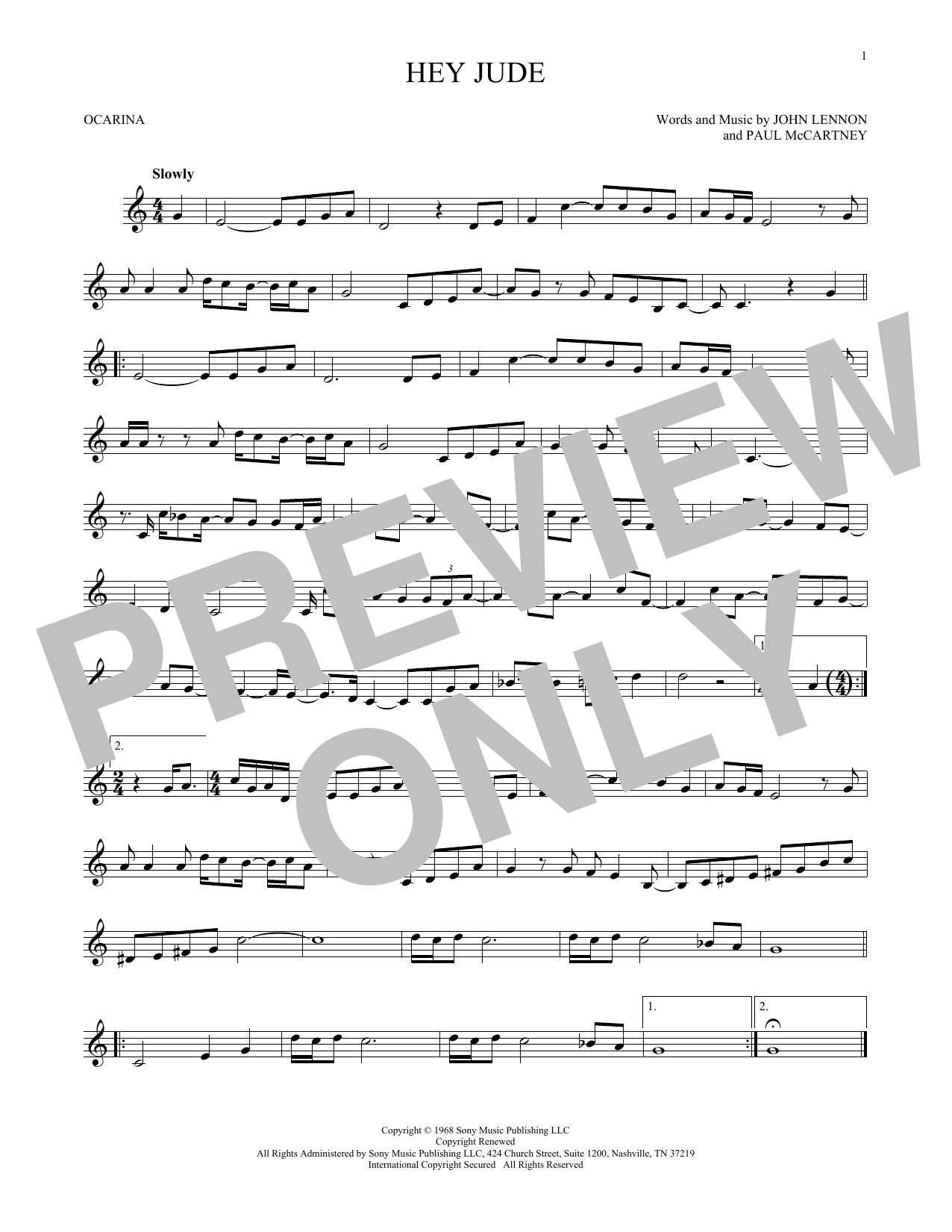 The Beatles Hey Jude sheet music preview music notes and score for Guitar Tab including 4 page(s)