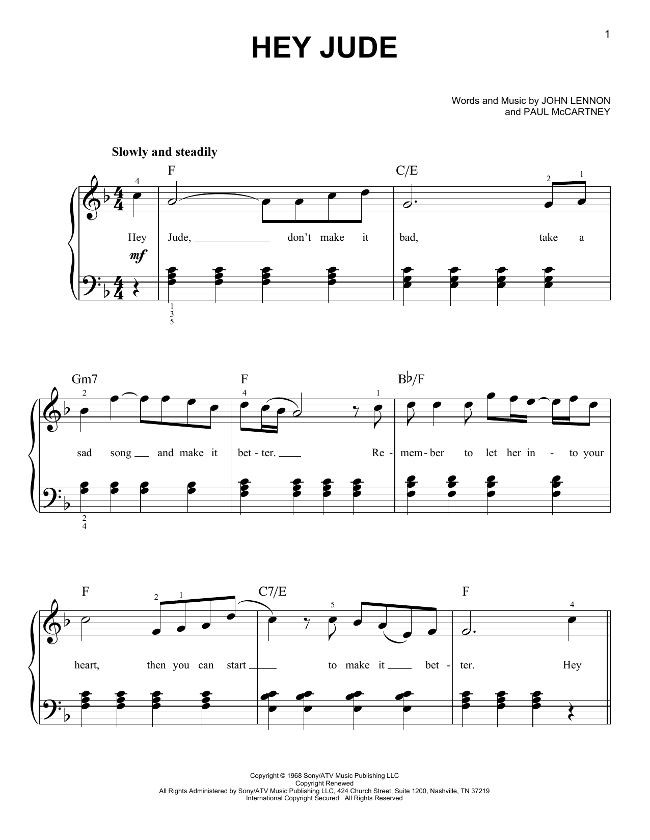 The Beatles Hey Jude sheet music preview music notes and score for Easy Piano including 4 page(s)