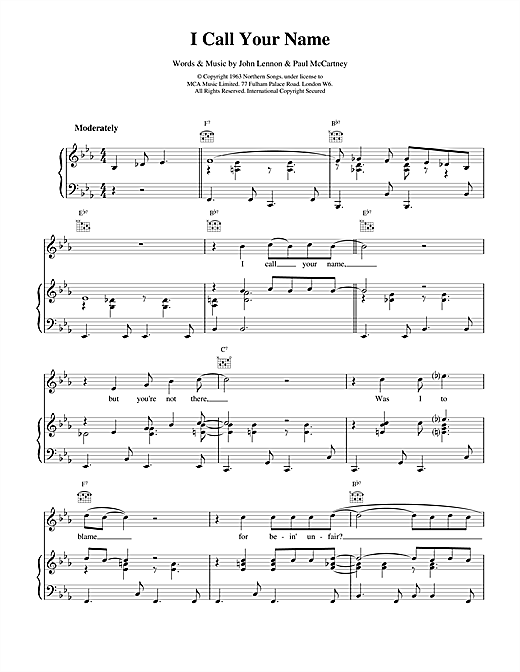 The Beatles I Call Your Name sheet music notes and chords