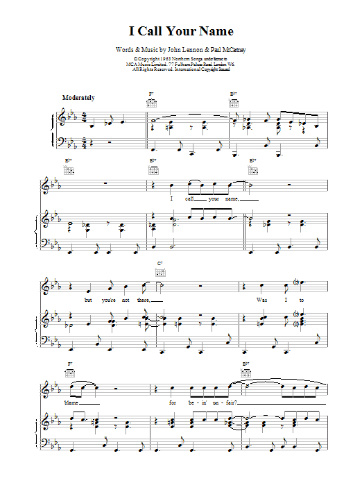 The Beatles I Call Your Name sheet music preview music notes and score for Guitar Tab including 6 page(s)