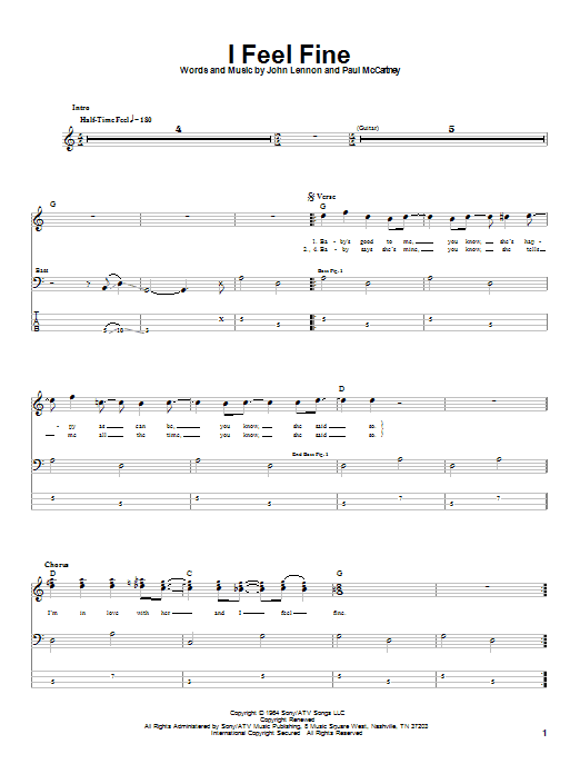 The Beatles I Feel Fine sheet music notes and chords