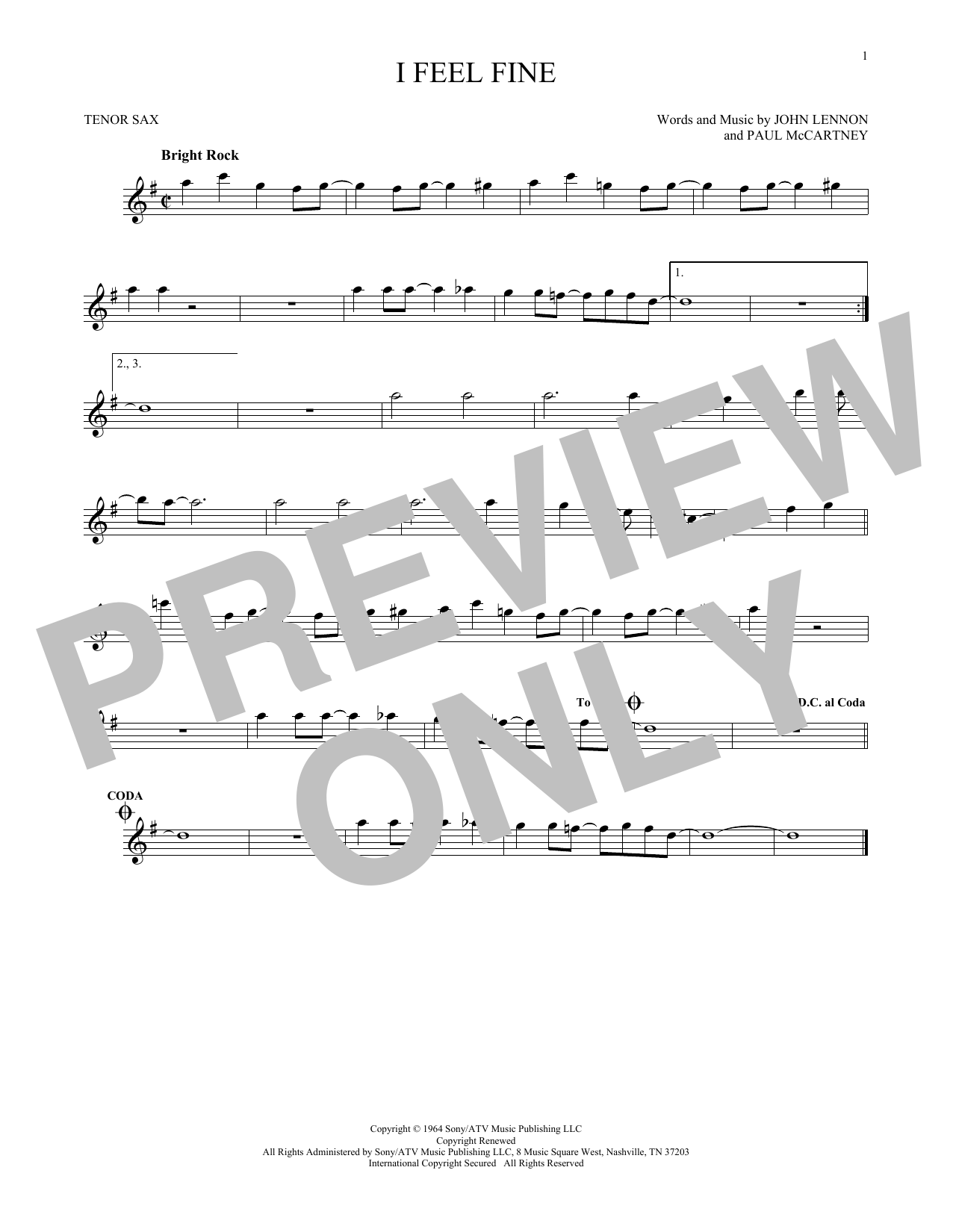 The Beatles I Feel Fine sheet music preview music notes and score for Guitar Tab including 4 page(s)