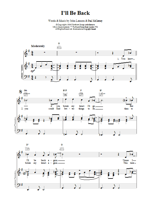 The Beatles I'll Be Back sheet music preview music notes and score for Melody Line, Lyrics & Chords including 2 page(s)