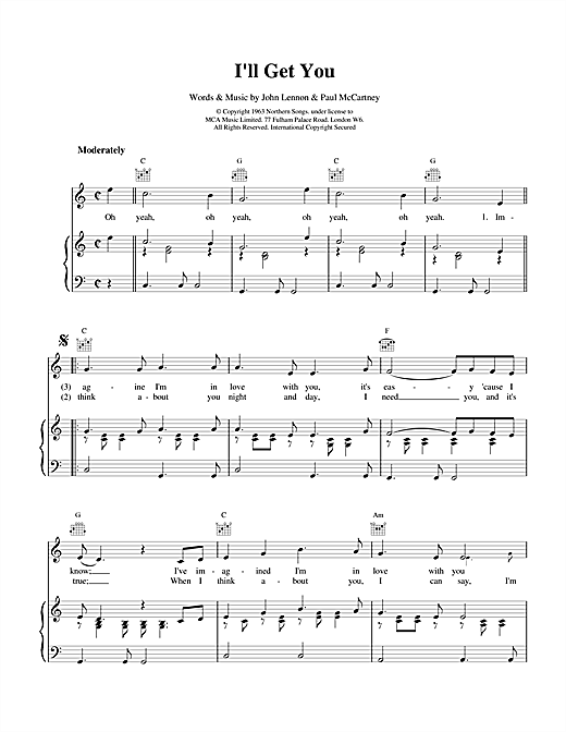 The Beatles I'll Get You sheet music notes and chords