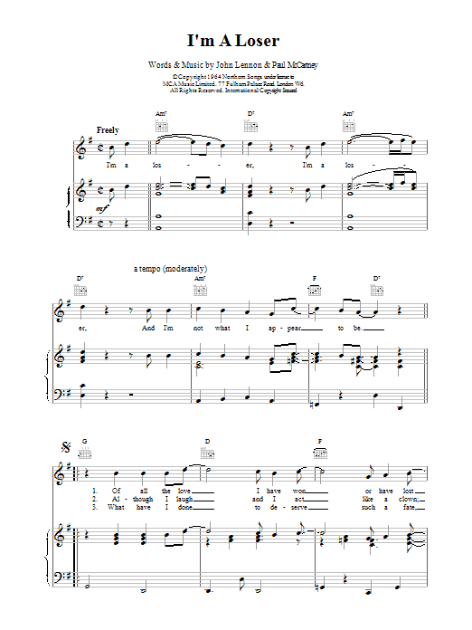 The Beatles I'm A Loser sheet music preview music notes and score for Guitar Tab including 5 page(s)