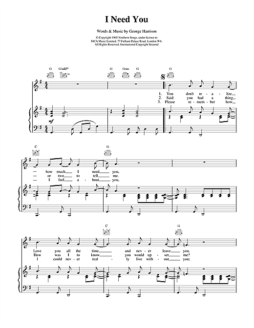 The Beatles I Need You sheet music notes and chords