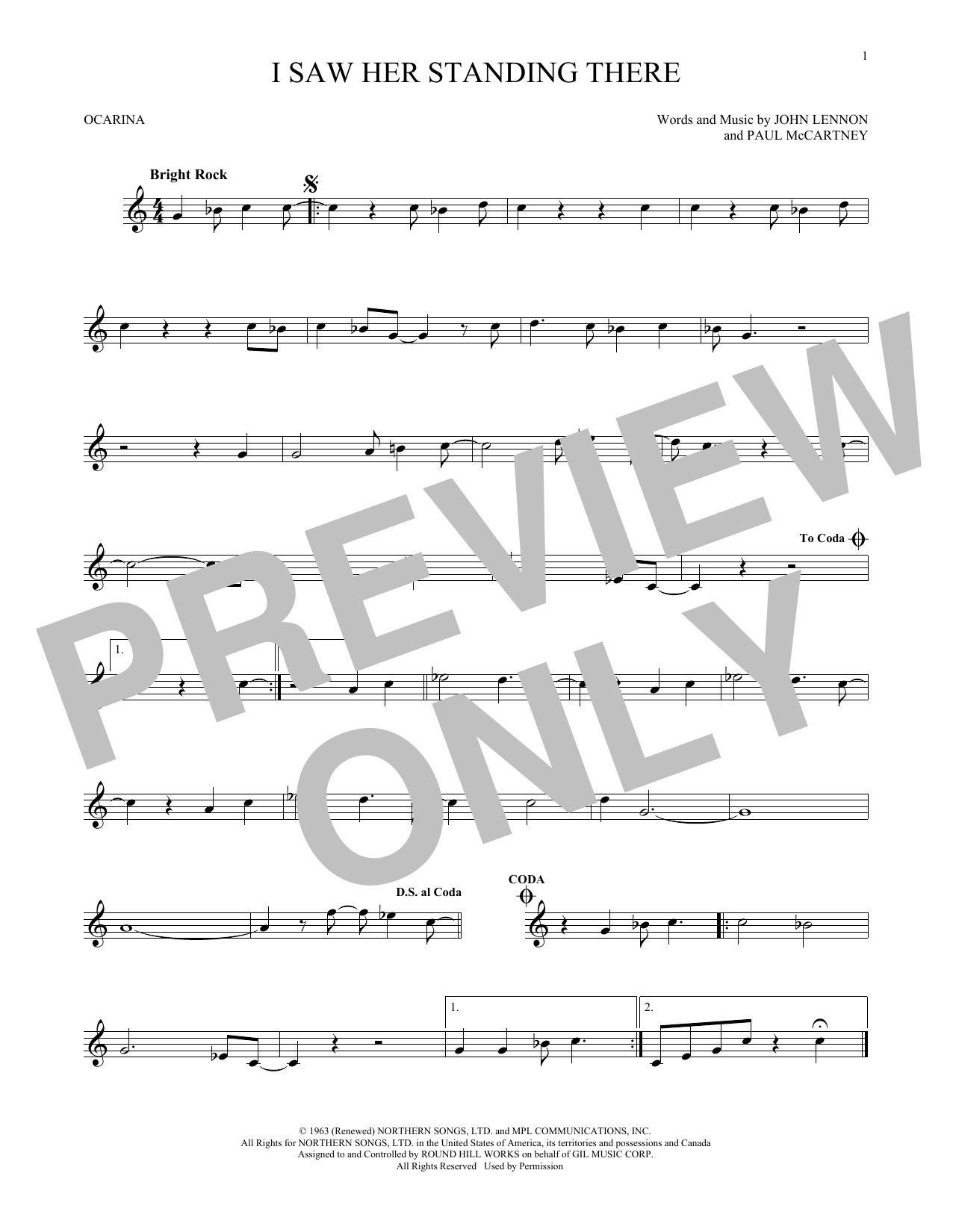 The Beatles I Saw Her Standing There sheet music preview music notes and score for Melody Line, Lyrics & Chords including 3 page(s)