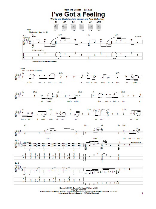 The Beatles I've Got A Feeling sheet music notes and chords