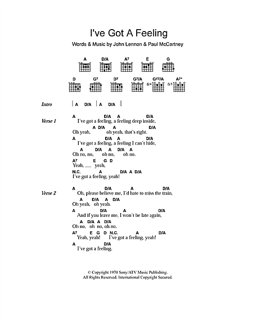 The Beatles I've Got A Feeling sheet music preview music notes and score for Piano, Vocal & Guitar including 7 page(s)