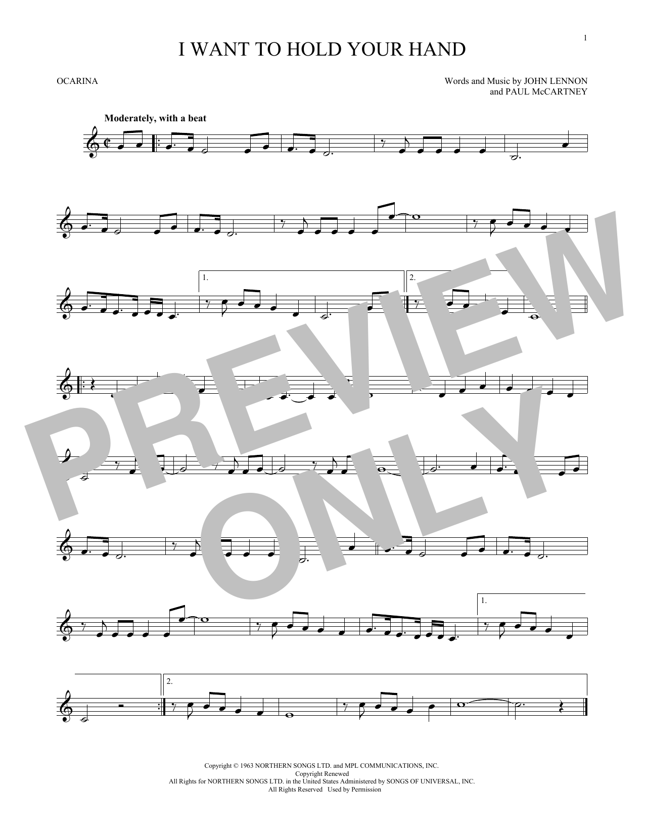 The Beatles I Want To Hold Your Hand sheet music preview music notes and score for Guitar Tab including 5 page(s)
