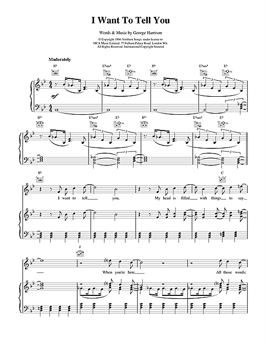The Beatles I Want To Tell You sheet music notes and chords