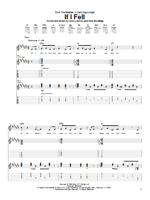 The Beatles If I Fell sheet music notes and chords