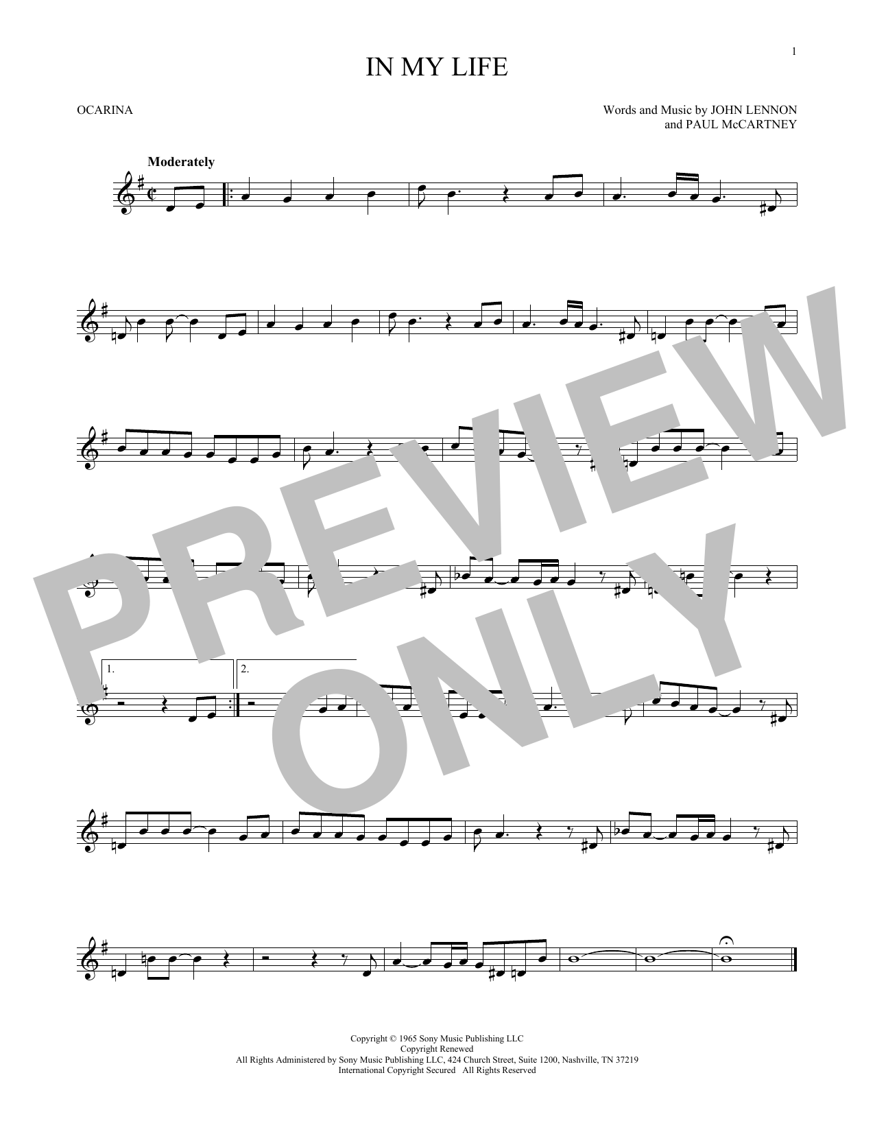The Beatles In My Life sheet music preview music notes and score for Bass Guitar Tab including 4 page(s)