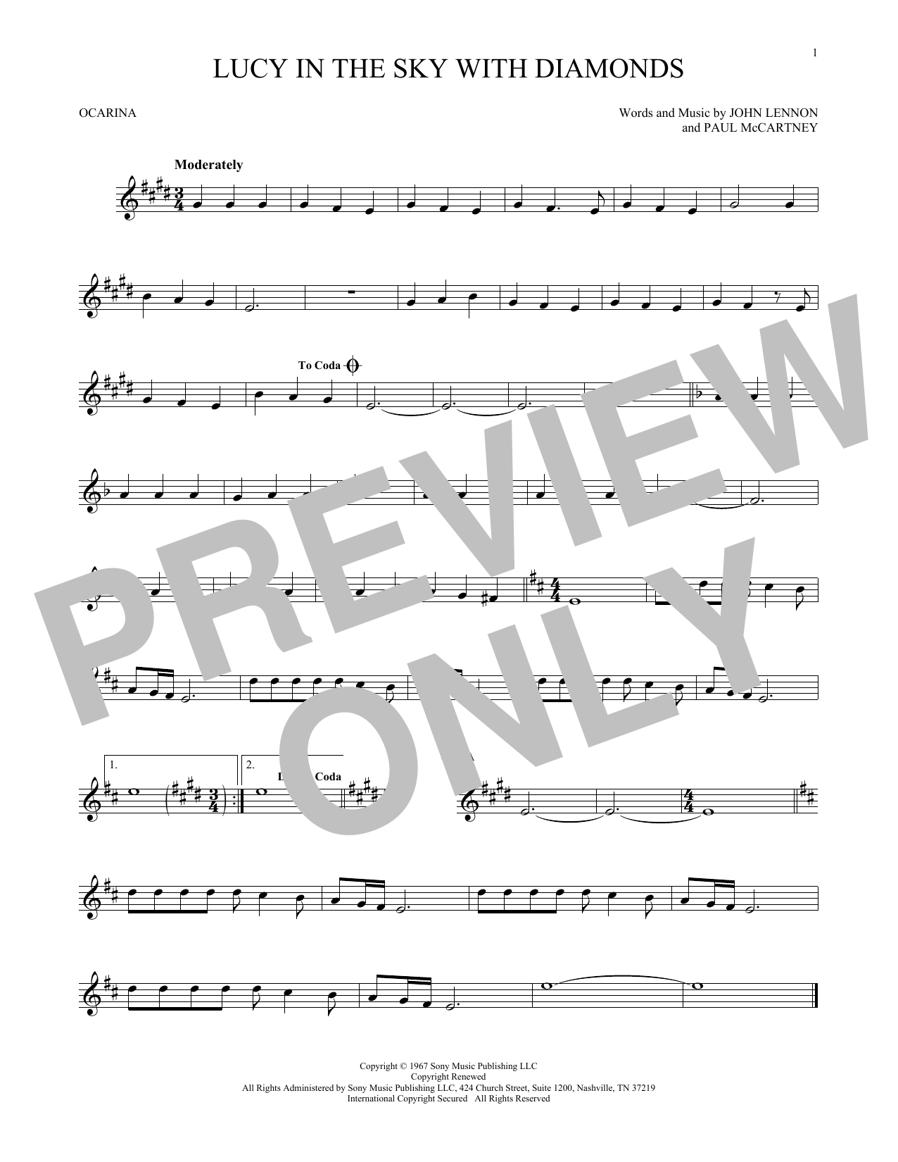 The Beatles Lucy In The Sky With Diamonds sheet music preview music notes and score for Piano, Vocal & Guitar (Right-Hand Melody) including 7 page(s)