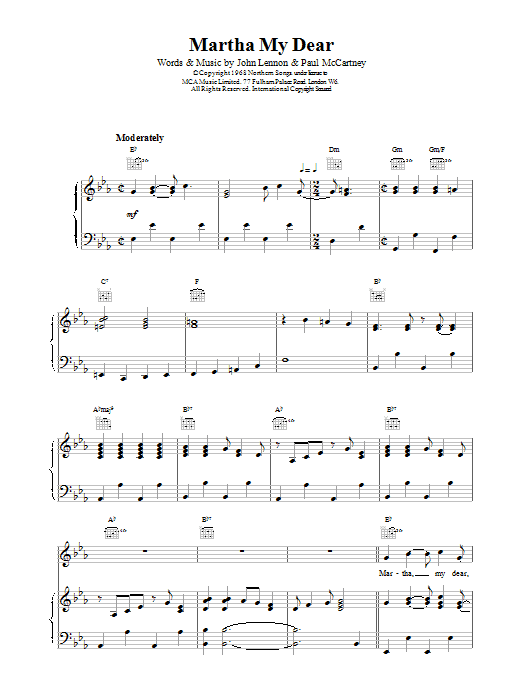 The Beatles Martha My Dear sheet music preview music notes and score for Easy Piano including 4 page(s)