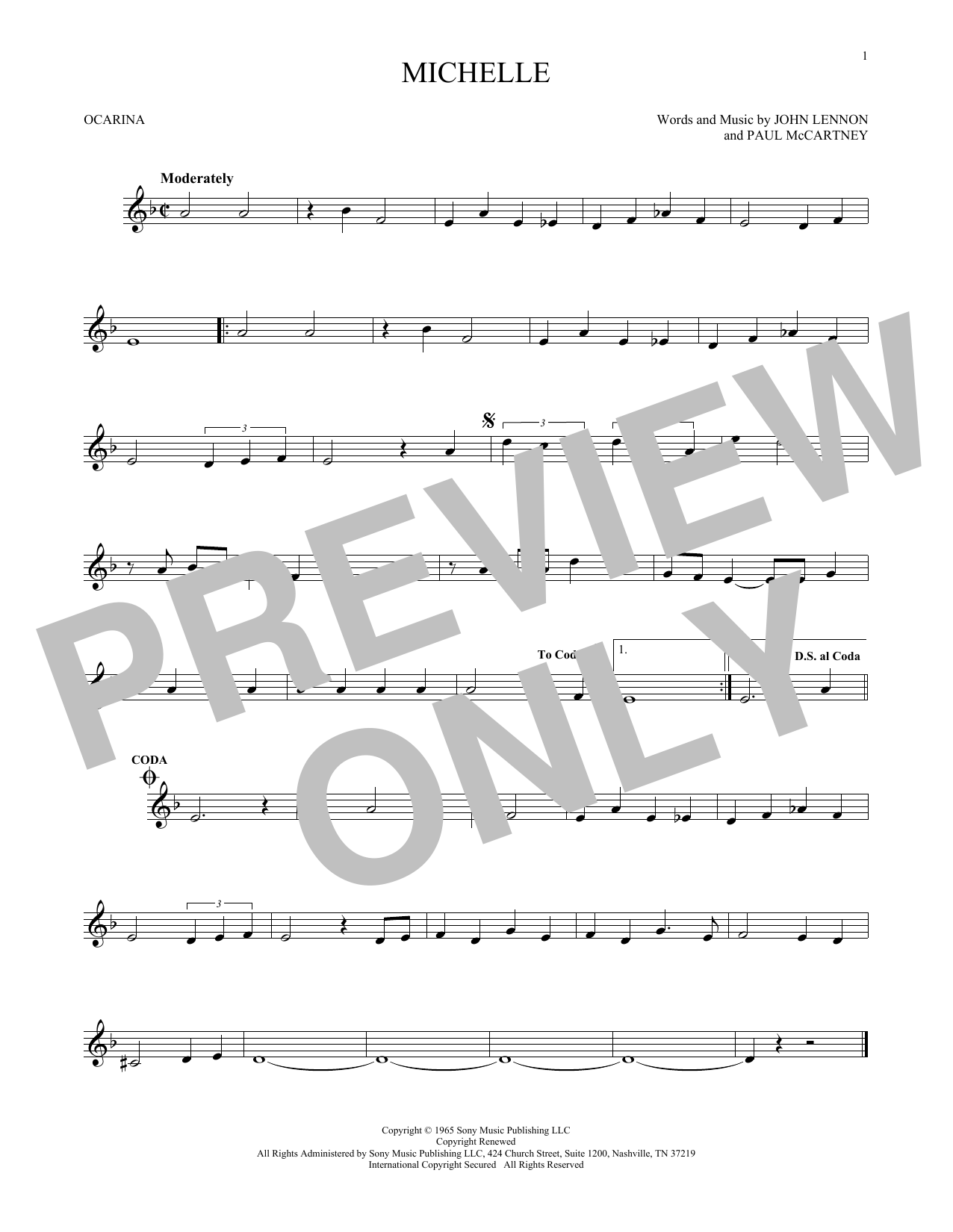 The Beatles Michelle sheet music preview music notes and score for Piano including 6 page(s)
