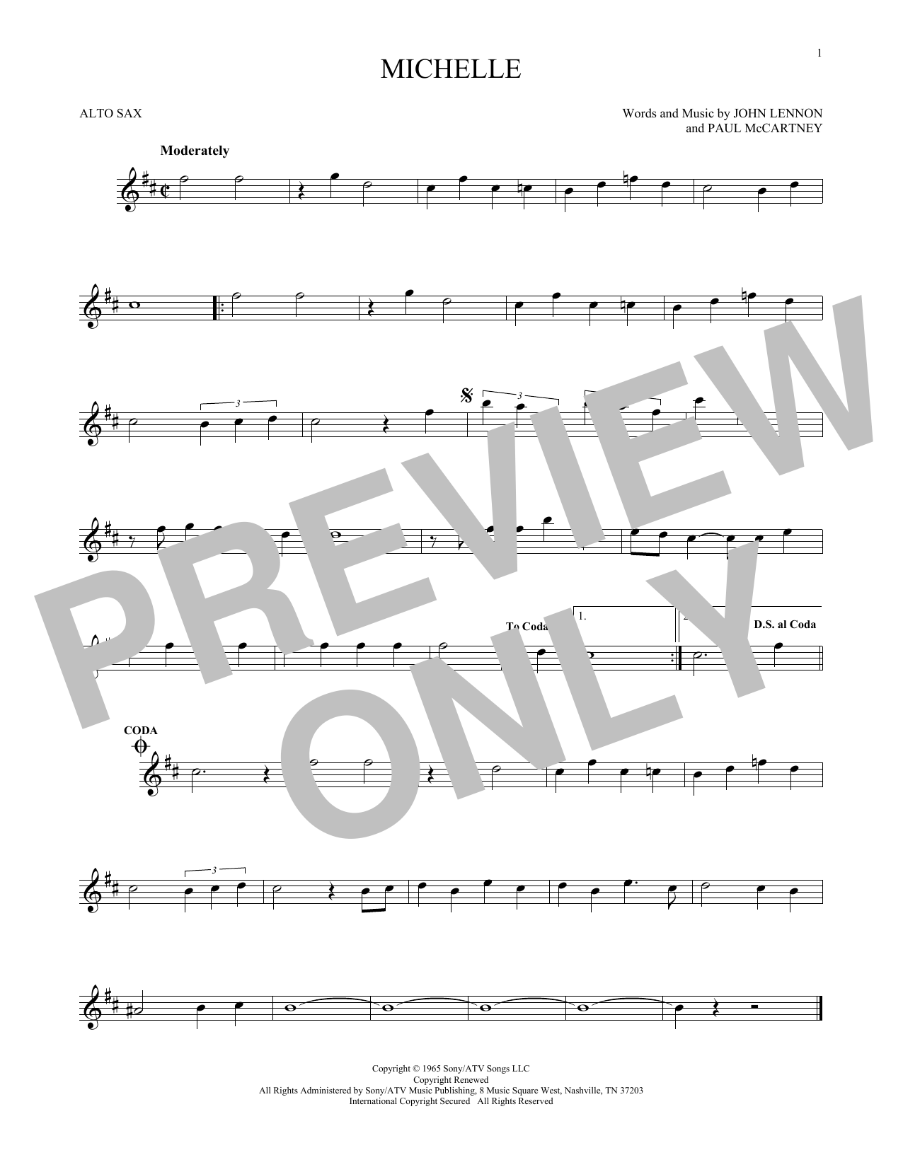 The Beatles Michelle sheet music preview music notes and score for Easy Piano including 3 page(s)