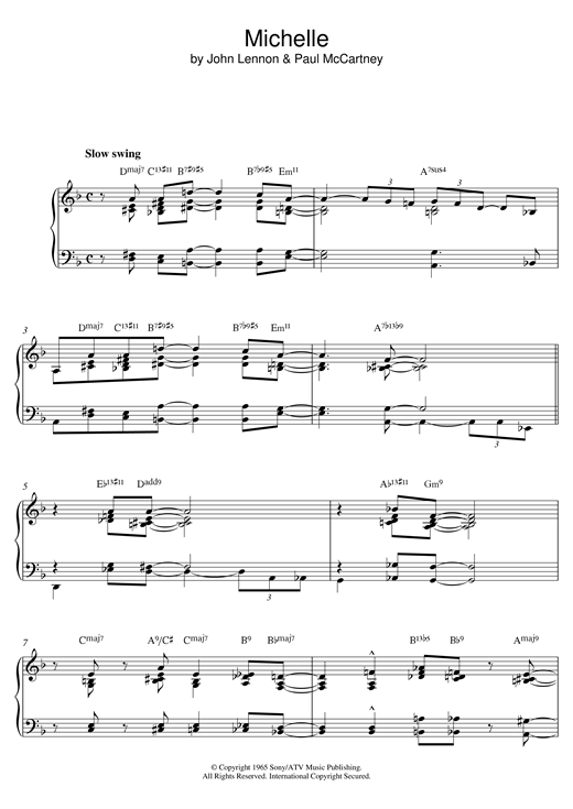 Download The Beatles 'Michelle (Jazz version)' Digital Sheet Music Notes & Chords and start playing in minutes