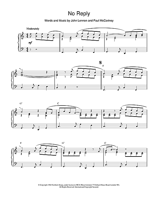 Download The Beatles 'No Reply' Digital Sheet Music Notes & Chords and start playing in minutes